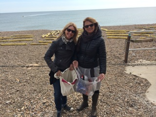 Collecting plastic on beach in England